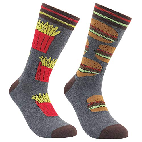 (Men's Fashion Crew Socks, KoolHour Novelty Crazy Funny Food Hamburger French Fries Patterned Cotton Mismatched Dress Casual Gift Socks,1)
