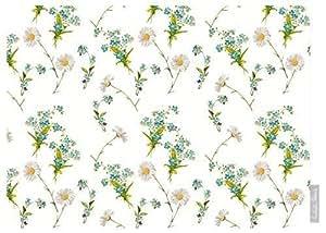 """Impermeable De Diseño Jardín Exterior Mantel - Flores silvestres - """"Lakeland"""" Colección - Diseñado Estampado & hecho a mano en el Reino Unido (Seleccione Longitud) - Blanco"""