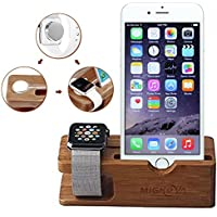 Apple Watch Stand, Gold Cherry bamboo charging dock...
