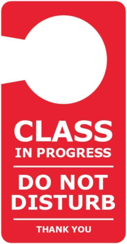Ideal for classrooms OriginDesigned Class in Progress Do Not Disturb Room Door Hanger Sign Red Acrylic college university. schools teachers