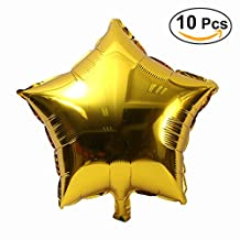 NUOLUX 10pcs 18 inch Five-Point Star Foil Balloon Party Mylar Balloons for Valentin's Day Wedding Birthday Party Decoration (Gold)