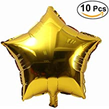 NUOLUX 10pcs 18 inch Foil Balloon Party Five-Point Star Mylar Balloons for Valentin's Day Wedding Birthday Party Decoration (Gold)