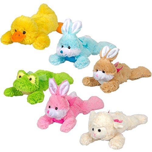 Bulk Lot of 6 Plush Soft and Huggable Bunnies Frog Duck and Easter Lamb Stuffed Animals