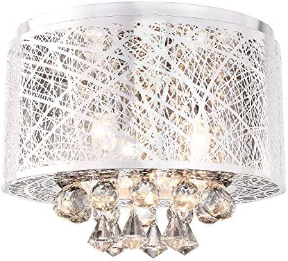 Modern Flush Mount Crystal Chandelier Lighting 3 Lights Ceiling Light Fixture for Dining Room, Bedroom, Living Room Flush Mount-Silver