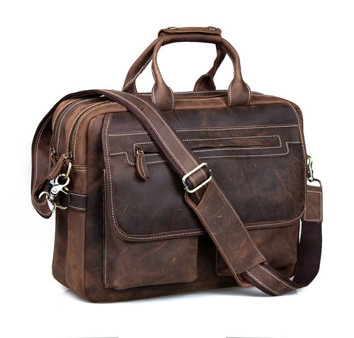 Kattee Crazy Horse Leather Briefcase Shoulder Business Laptop Bags Tote (Coffee) by Kattee