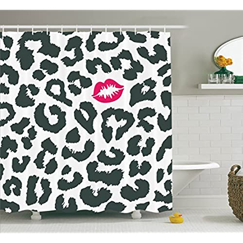 Ambesonne Safari Shower Curtain Leopard Cheetah Animal Print With Kiss Shape Lipstick Mark Dotted Trend Art Fabric Bathroom Decor Set Hooks