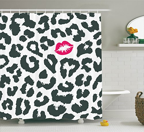 Safari Shower Curtain by Ambesonne, Leopard Cheetah Animal Print with Kiss Shape Lipstick Mark Dotted Trend Artwork, Fabric Bathroom Decor Set with Hooks, 70 Inches, Black White Red
