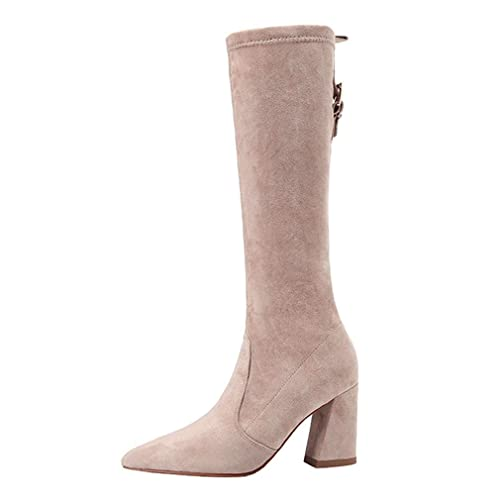 a39be037647 Amazon.com | CYBLING Women Sexy Pointed Toe Knee High Boots Stretchy ...
