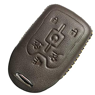 Coolbestda Leather Key Fob Remote Keyless Cover Case Protector Skin Jacket for 2020 2016 2015 Chevrolet Suburban LTZ Tahoe GMC Yukon Acadia Brown: Automotive