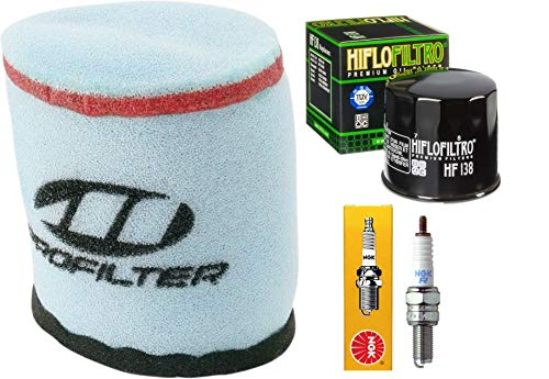 - Tune Up Kit Pre-Oiled Air Filter Oil Filter Spark Plug for Suzuki King Quad Eiger 400