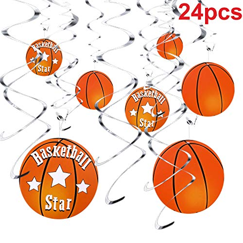 Skylety 24 Pieces Basketball Swirl Party Decorations, Basketball Hanging Swirl Sport Birthday Party, Basketball Themed Party Supplies]()