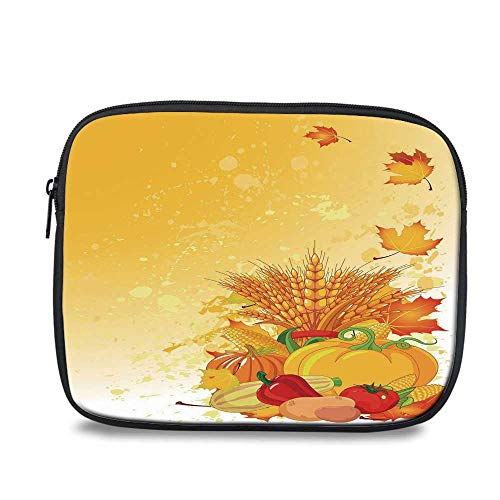 - Harvest Durable iPad Bag,Vivid Festive Collection of Vegetables Plump Pumpkins Wheat Fall Leaves Decorative for iPad,10.6
