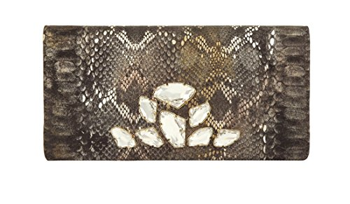 Inge Christopher Multi Metallic Boa Clutch, Multi, One Size