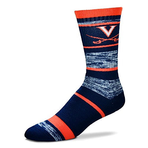 (NCAA Virginia Cavaliers Logo RMC Stripe Mens Crew Cut Socks - Large)