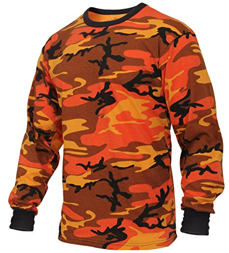 Rothco Long Sleeve Colored Camo T-Shirt, Savage Orange Camo, M
