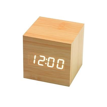 Onerbuy Wooden Digital Cube Alarm Clock Toque Sound Activated Desk Clock Reloj de Viaje portátil con Pantalla LCD para Tiempo, Temperatura, ...