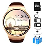 Bluetooth Smart Watch, Collasaro 1.3 inches IPS Round Touch Screen Water Resistant Smartwatch Phone with SIM Card Slot,Sleep Monitor,Heart Rate Monitor and Pedometer for IOS and Android Device (Gold)