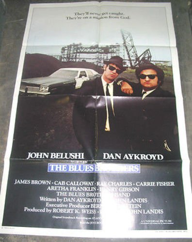 THE BLUES BROTHERS / ORIGINAL INT'L ONE-SHEET MOVIE POSTER ( JOHN BELUSHI )