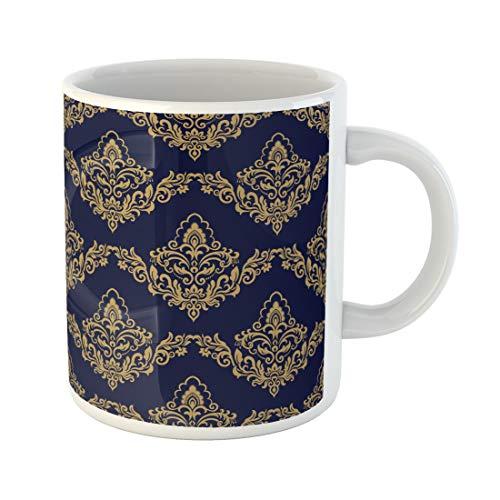 Semtomn Funny Coffee Mug Blue Abstract Damask Antique Arabesque Artistic Asian Baroque 11 Oz Ceramic Coffee Mugs Tea Cup Best Gift Or Souvenir