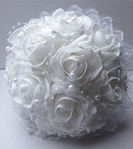 Wedding Bouquet Off-White Glitter Pearls Throw Floral Reception Bridal Shower Foam Roses Prom