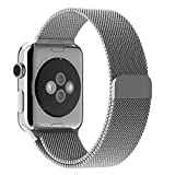 UINSTONE Apple Watch Band 42mm Milanese Loop Stainless Steel Bracelet Smart Watch Strap for Apple Watch All Models With Unique Magnet Lock No Buckle Needed - SILVER