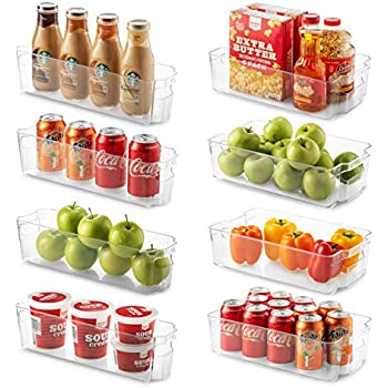 Set Of 8 Refrigerator Organizer Bins - 4 Large and 4 Small Stackable Fridge Organizers for Freezer, Kitchen, Countertops, Cabinets - Clear Plastic Pantry Storage Rack