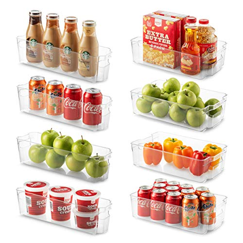 Set Of 8 Refrigerator Organizer Bins - 4 Large and 4 Small Stackable Fridge Organizers for Freezer, Kitchen, Countertops, Cabinets - Clear Plastic Pantry Storage Rack (Fridge Organizers)