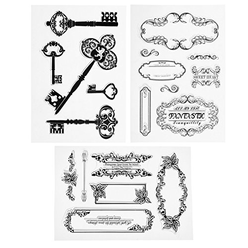 Kloud City Pack of 3 Ancient Wording Letter Frame Series Pattern Silicone Transparent Clear Stamps Set For DIY Scrapbooking Decoration Leather Patchwork Frames Clear Stamp Set