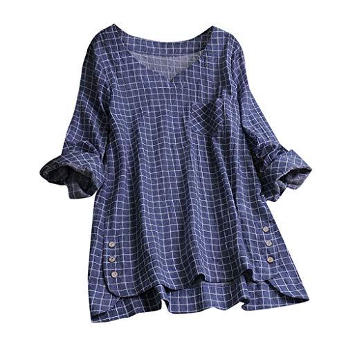 iNoDoZ Women's Casual Plaid Button Plus Size Cotton Tops Comfortable Loose Blouse Vintage Tee T Shirt Navy