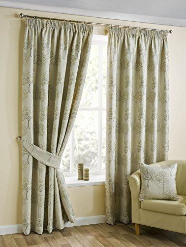 Natural Beige con forro cortinas, Jacquard de árboles, Ripley listo para cinta de cortina