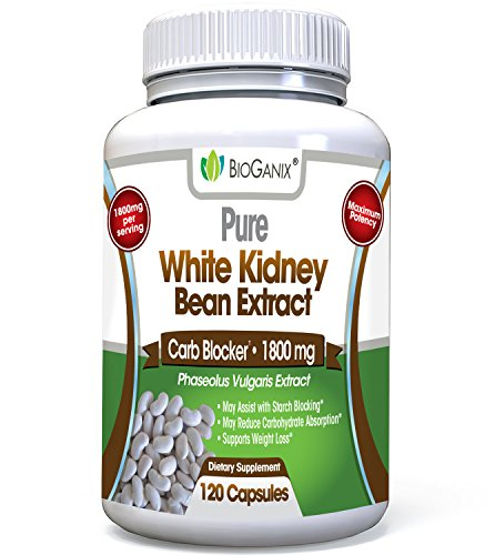 100% Pure White Kidney Bean Extract 1800mg Serving (120 Capsules) Best Carb and Fat Blocker & Starch Intercept Supplement for Weight Loss ()