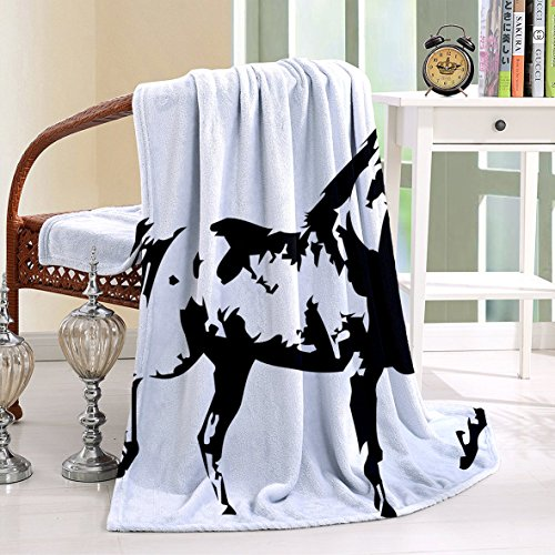 HAIXIA Blanket Apartment Animal Theme A Running Horse Silhouette Illustration Monochrome Style Shams Queen Full Black and White_2 49.2x59