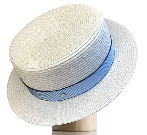 Melniko City Women's Straw Boater Hat Roaring 20s Retro Sunhat (White/Sky Blue) - Straw Retro Hat