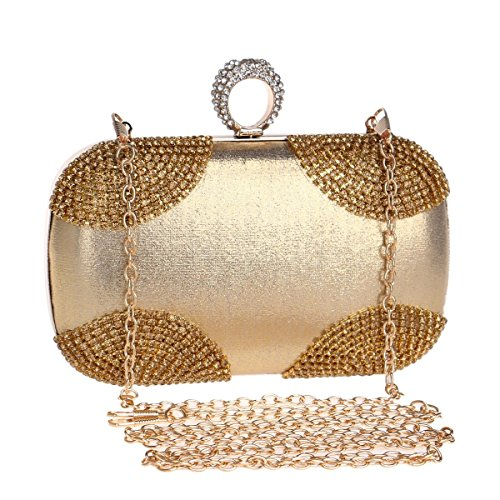 Silver Crossbody KERVINFENDRIYUN Purse Handbag Diamond Bag Clutch Gold Evening Color Gold Women's pxnpgq6z