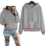 Beautifullight Great sweatshirt NEW Winter autumn Women stitching hoodies Elegant Pullovers Double Hoodies gray M