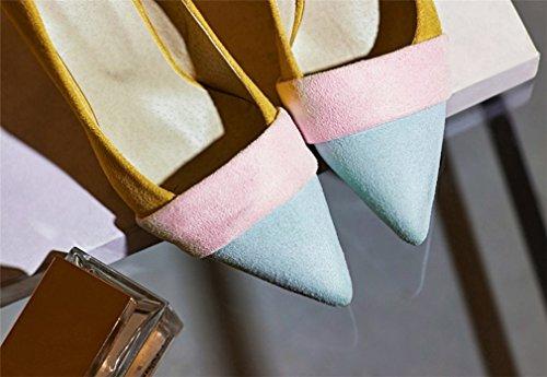 Tacones Femeninos Zapatos 9Cm Oficina Tacón CLOVER A Mujer Fiesta Pies LUCKY Moderno La Boda Zapatos Aguja De Los Zapatos De Bar De De Corte Puntas Club Señoras De Nupcial Beige A Sexy 4xYA8HqU8n