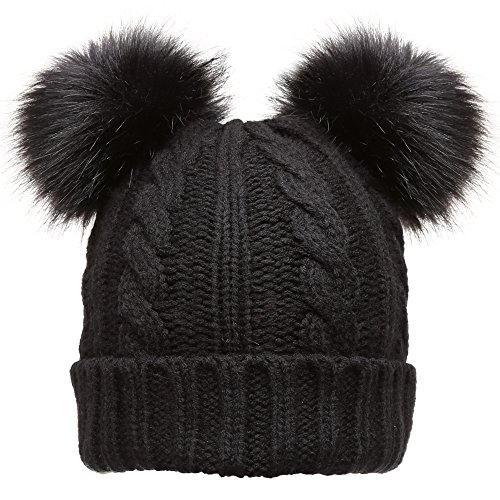 Women's Winter Cable Knitted Faux Fur Double Pom Pom Beanie Hat with Plush Lining.