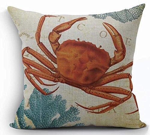Oitoere Cotton Linen Marine Life Orange Crab Decorative Pillowcase Throw Pillow Cushion Cover Square 18