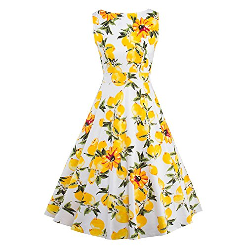 [yinjanli Pretty Print floral 50 60s Vintage Dresses Sleeveless Retro Dress] (60s Dress Up Ideas)