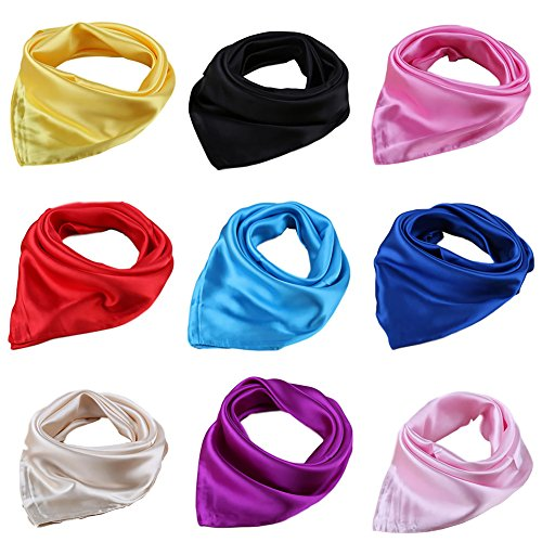(Women Satin Square Scarf 4/9 Pack Wrap Silk Feel Solid Hair Scarf Accessory 23