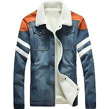 Jinmen Men's Winter Slim Denim Jacket Warm Lamb Fur-lined