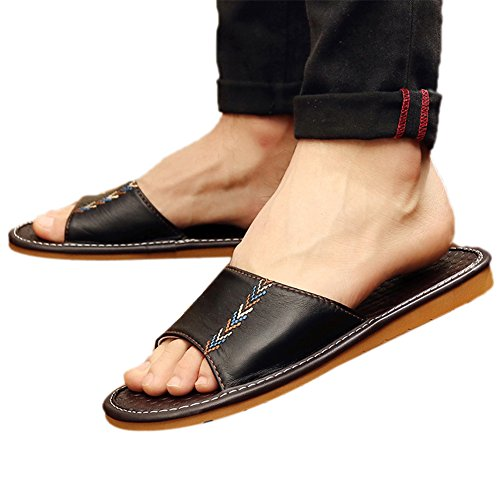 Female Leather Bedroom Indoor Cowhide Home Slippers Anti Summer TELLW Cool Odor Breathable Male Slippers Spring black Fall Skid Proof men Summer x5qIFB