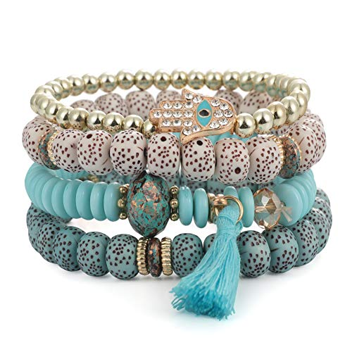 SINOBI 4 Wrap Women Boho Bracelets Multicolor Stretch Beaded Stackable Charm Bangles Natural Gemstone Jewelry for Women Men (Eye Blue)