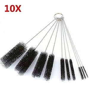 10Pcs Test Tube Cleaning Brush Bottle Straw Washing Cleaner Bristle Kit Tool ( white )