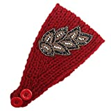 Women Knitted Headband Ear Warmer Stretchy Headwrap Head Wrap Hair Band Turban for Cold Whether by BCDshop (Red)