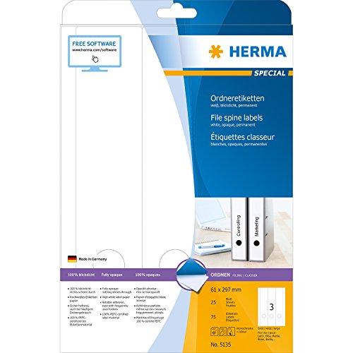 Herma 5135 Ordnerrücken-Etiketten (Papier matt, 61 x 297 mm) 75 Stück weiß