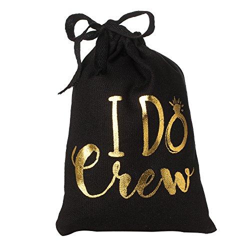 I Do Crew Cotton Muslin Drawstring Bag - Wedding Bachelorette Party Bridal Shower Guest Welcome Gift Bag - Black 5
