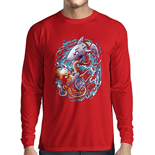 lepni.me Long Sleeve t Shirt Men Battle In The Ocean - Octopus Vs Shark - To Rule The Seas, Marine Outfits (Small Red Multi - Ideas For Guys Nerd Outfit