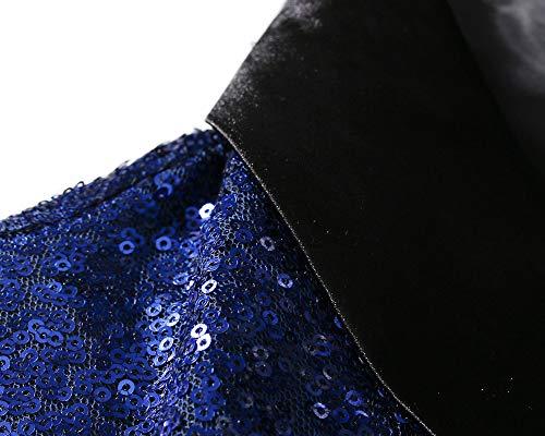 Solido Uomo Risvolto Blu Cappotto Lunga Manica Blazer Zaffiro Colore Paillettes Giacca xxTXB