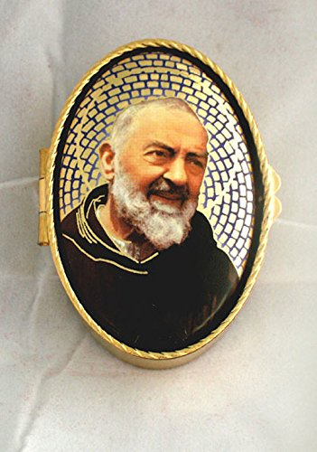 GSV001 Padre Pio rosary/pill box, 1.75 inches x 2.5inches. Made in Italy. by GSV001